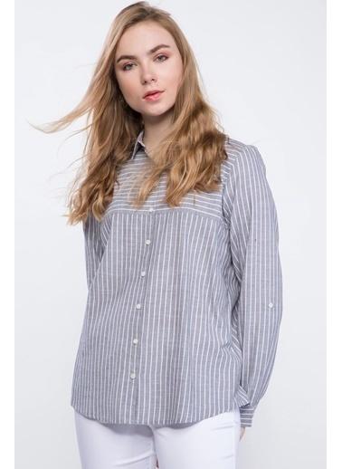 DeFacto Uzun Kollu Çizgili Gömlek Siyah